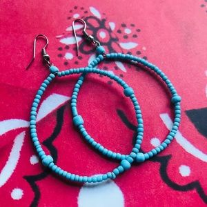 NEW Turquoise Blue Beaded Hoop Earrings